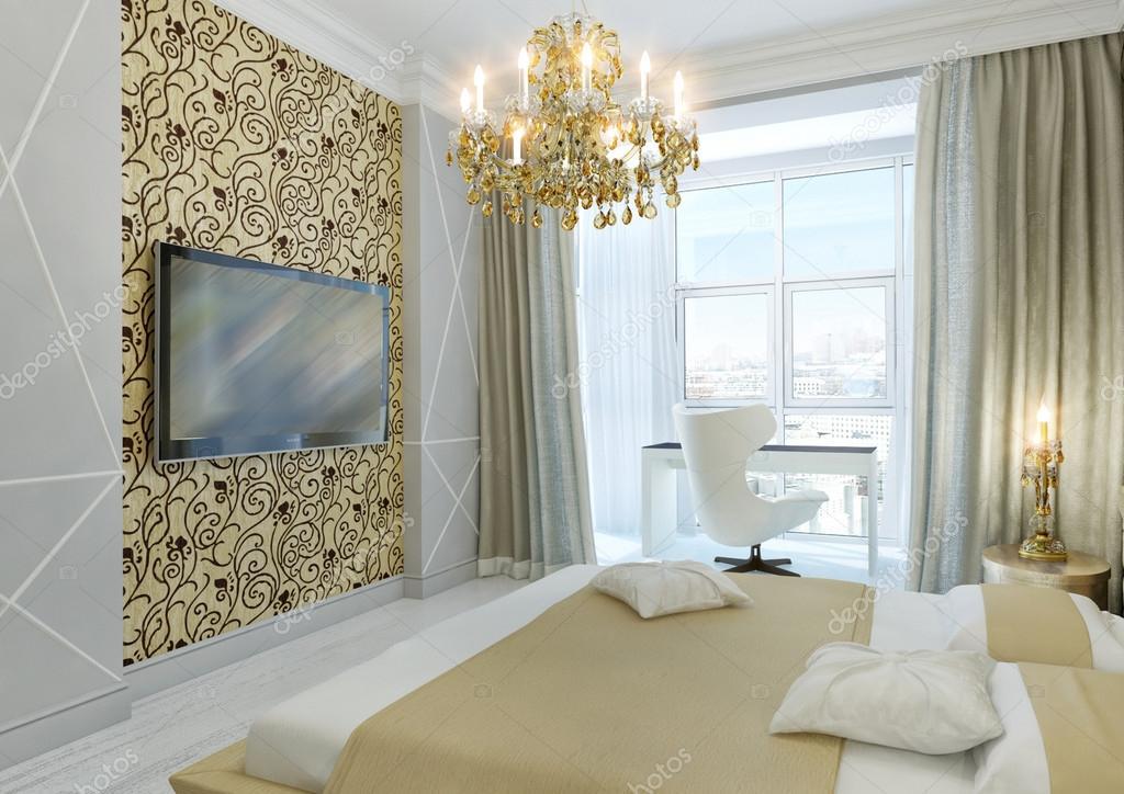 Gouden slaapkamer — Stockfoto © annamarynenko #12202222