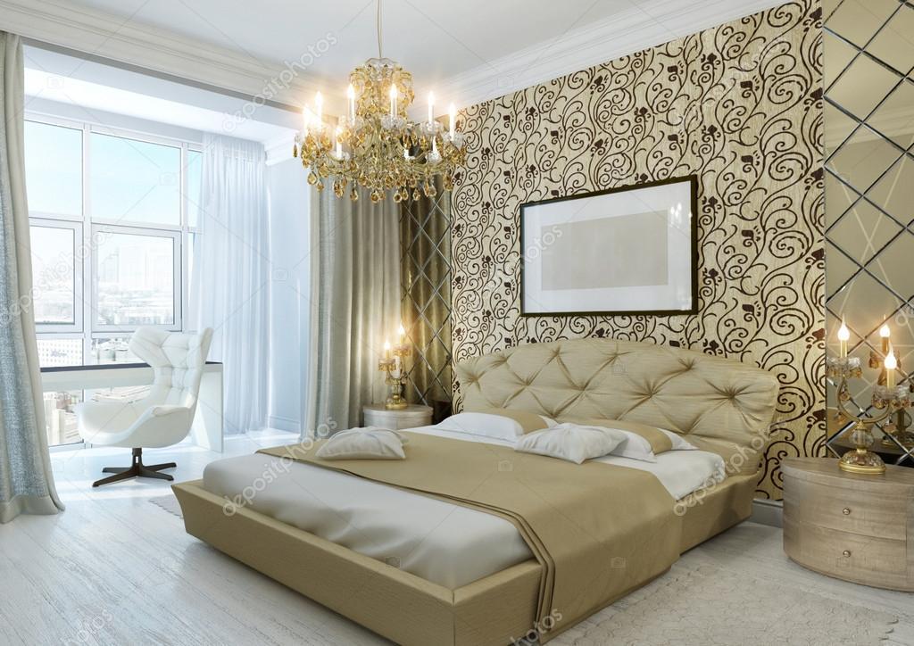 gouden slaapkamer stockfoto
