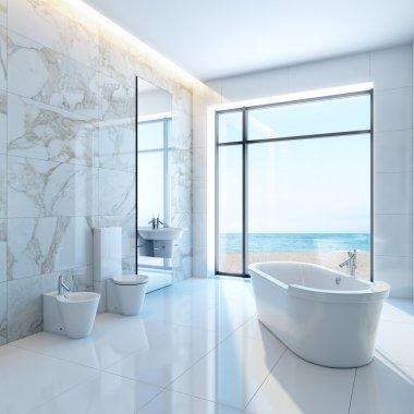 Modern luxurious bathroom in house on a beach stock vector