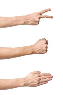 Three hand gestures. Rock Paper Scissors game