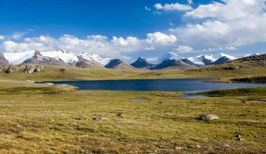 Mountain lake. Arabel valley, Kyrgyzstan