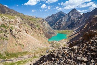 Wonderful turquoise mountain lake, Kyrgyzstan