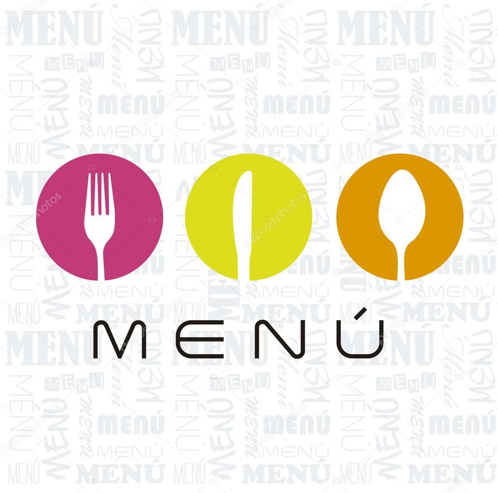 Menu with cutlery sign over white background. vector illustration