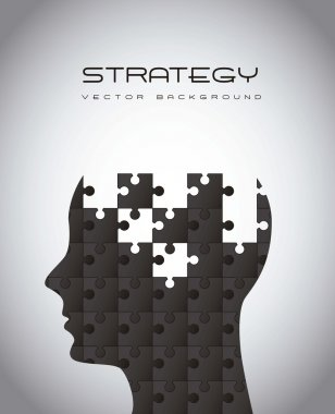 Silhouette man with puzzles, strategy. vector illustration stock vector