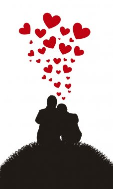 Silhouette of couple sitting over grass with hearts. vector clip art vector