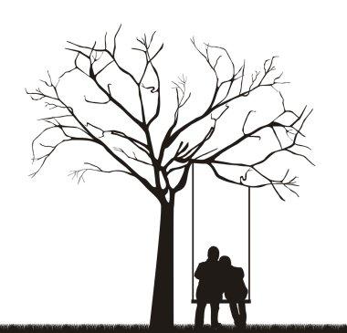 Black couple under tree over swing. vector illustration stock vector