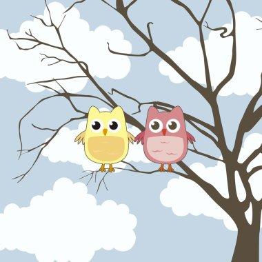 Cute owl over tree and sky backgroud, love. vector illustration clip art vector