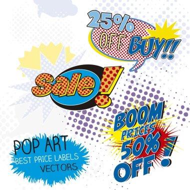 sale labels pop art