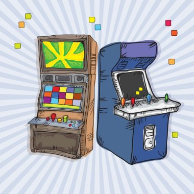 Illustrated Arcade Game Machines (set for two). On vintage background stock vector