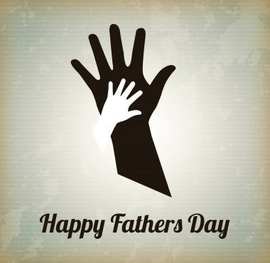 Happy Fathers day with two hands over vintage background stock vector