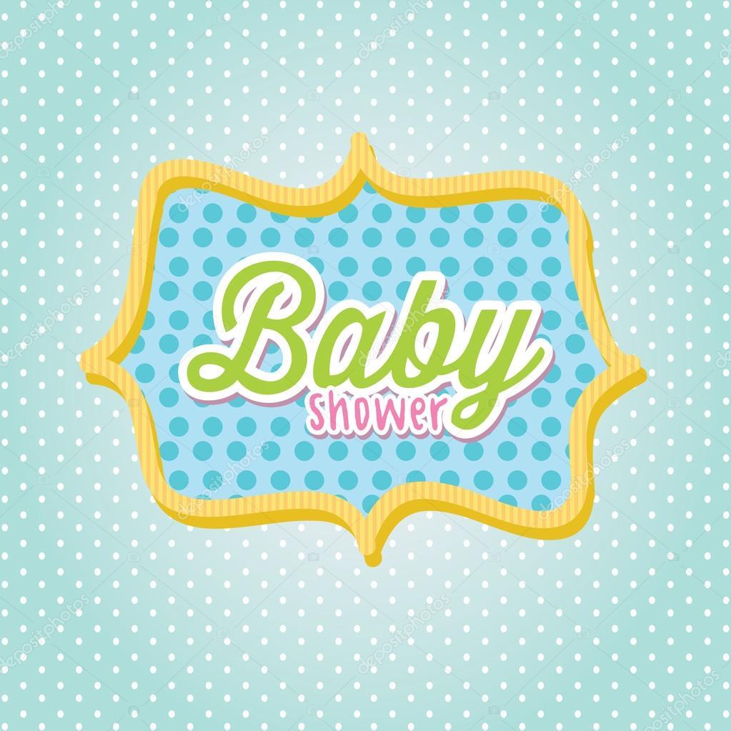 Baby Shower Frame Over Blue Background Vector Illustration U2014 Vector By  Yupiramos
