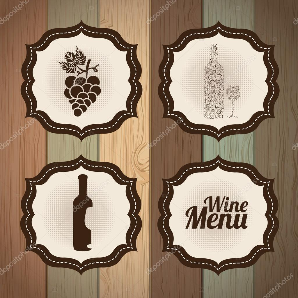 wine frames over wooden background vector illustration vector by yupiramos - Wine Picture Frames