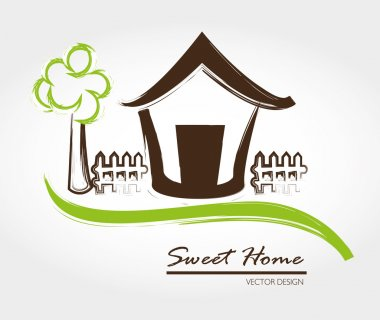 Sweet home over gray background vector illustration clip art vector