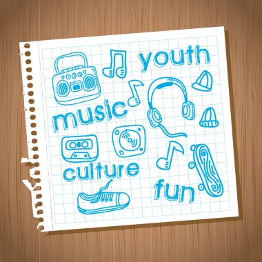 Youth culture design over wooden background vector illustration stock vector