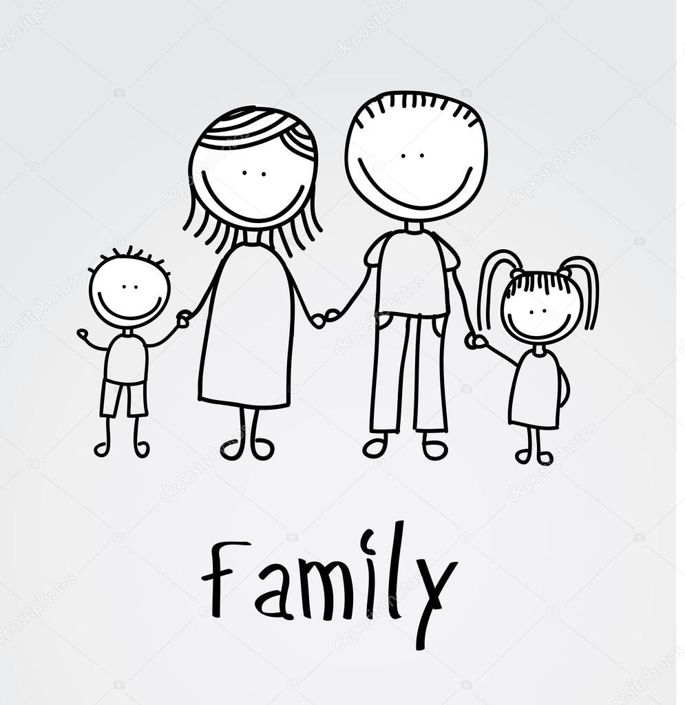 Disegno Famiglia Vettoriali Stock Yupiramos 30608409
