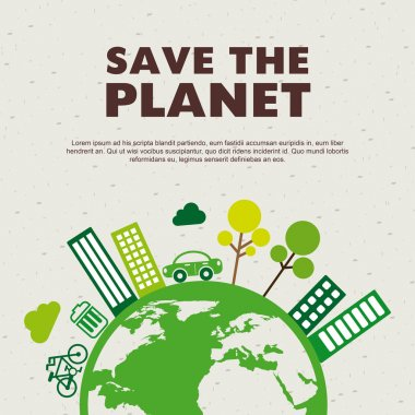 Save the planet design over pattern background vector illustration stock vector