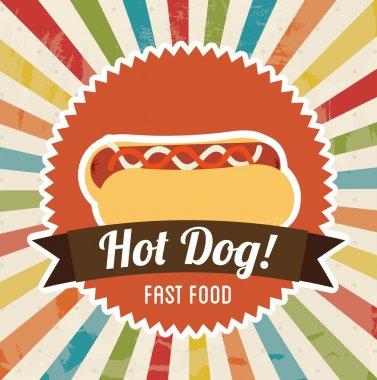 Hot dog design over grunge background vector illustration clip art vector