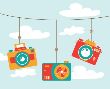 Photography design over cloudscape background, vector illustration stock vector