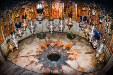Bethlehem Church of the Nativity of Jesus Christ. Star with fourteen rays.