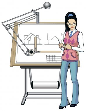 Female architect of asian race presenting her blueprint stock vector