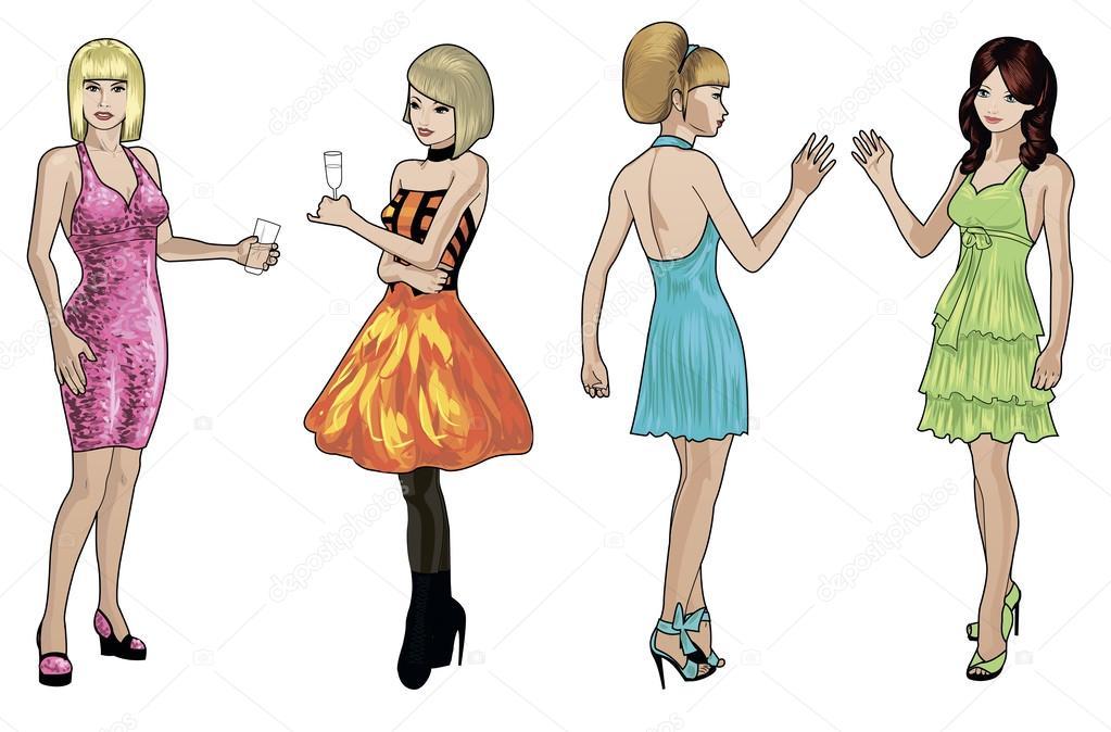 caucásicas damas en vestidos de Cóctel — Archivo Imágenes ...