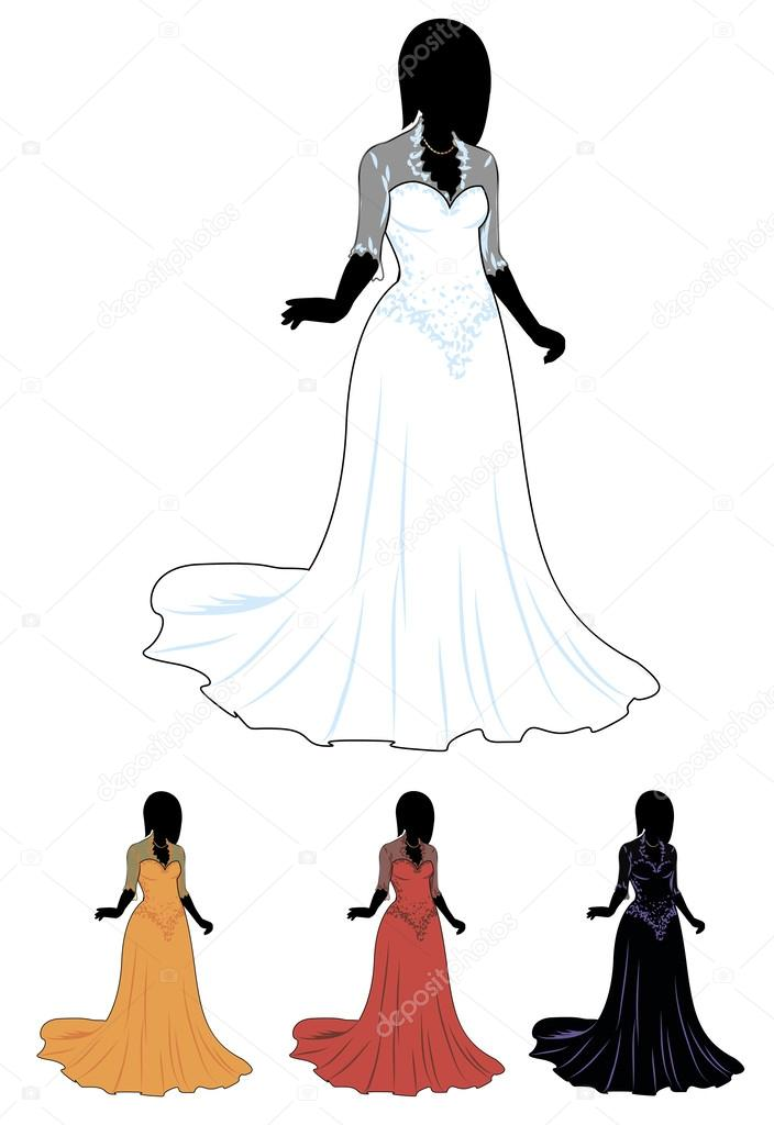 mujer de silueta en conjunto de vestido de boda — archivo imágenes
