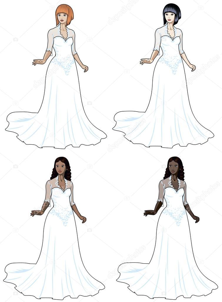 caucasian asiatischen Latein und afrikanische Frau im Hochzeitskleid ...