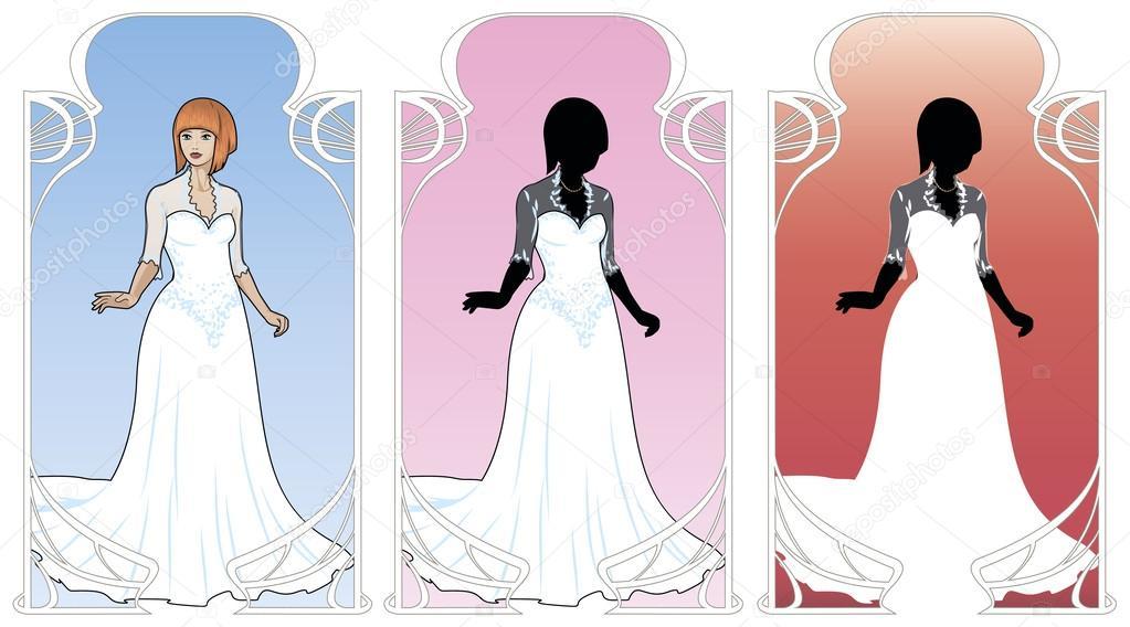mujer caucásica con vestido de novia — Archivo Imágenes Vectoriales ...