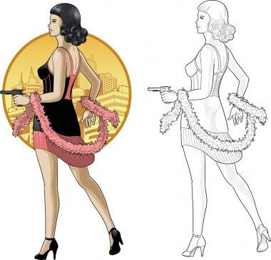 Retro asian girl in black with a gun