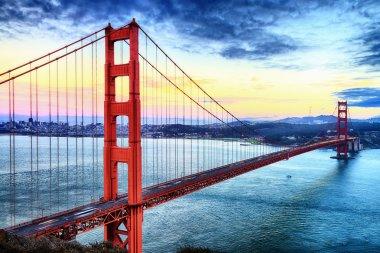 Famous Golden Gate Bridge, San Francisco at night, USA stock vector
