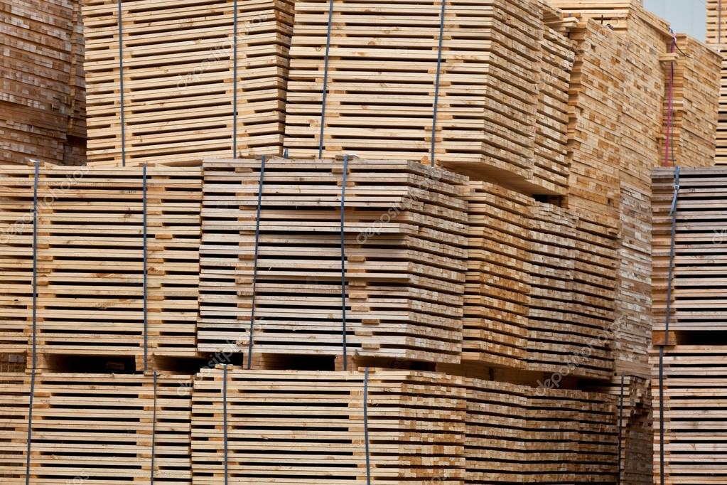 New Wooden Stacked Pallets