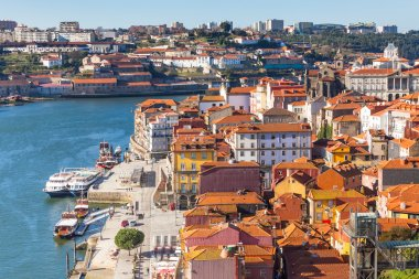Overview of Old Town of Porto, Portugal.