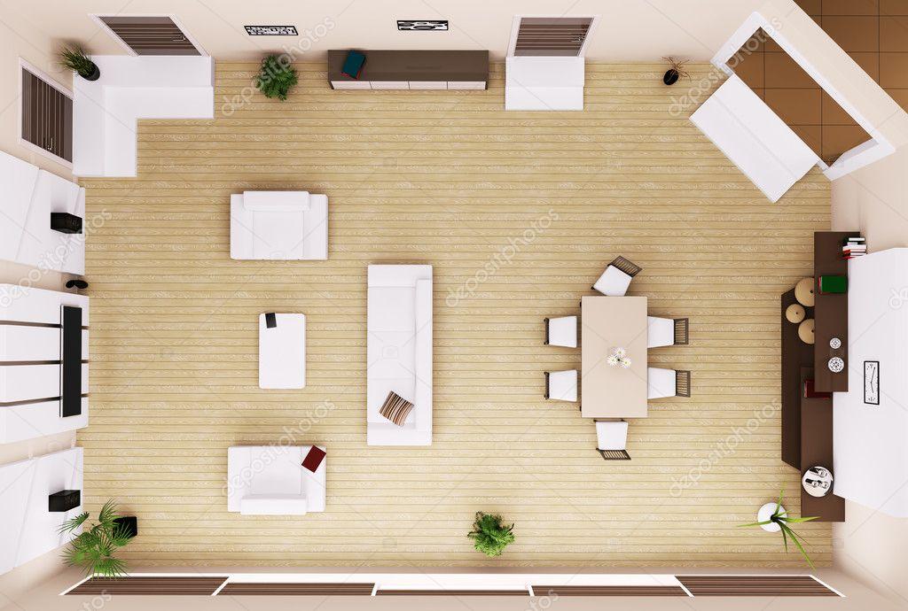 woonkamer interieur bovenaanzicht 3d render — Stockfoto © scovad ...