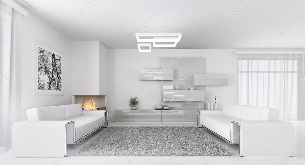 Interieur van het moderne leven van de witte kamer d u stockfoto