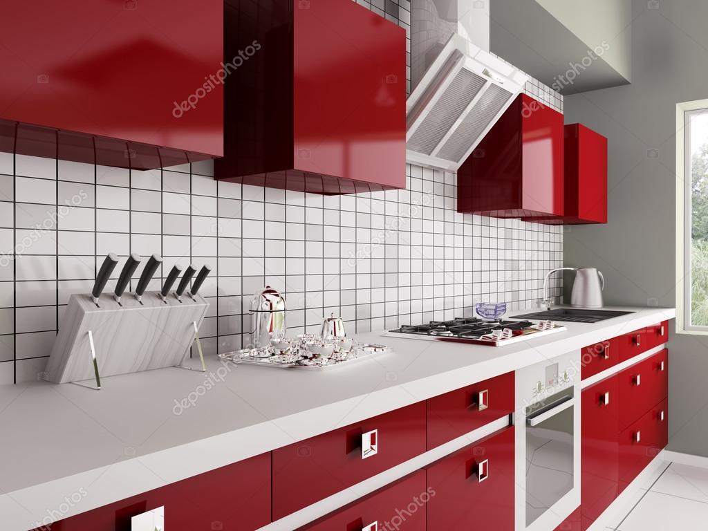 modern piros konyha belső 3d — Stock Fotó © scovad #41705513