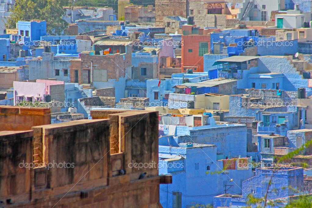 Blaue Häuser blaue häuser der hindu brahmin kaste jodhpur rajasthan stockfoto