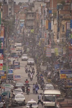 Traffic jam and air pollution in central Kathmandu