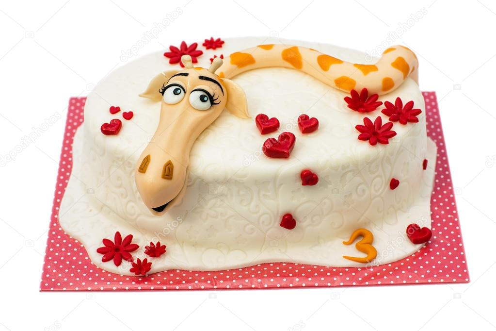 Birthday cake on white background