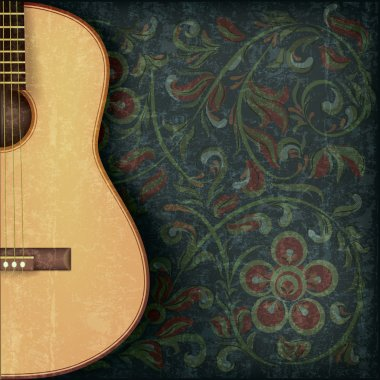 grunge music background with guitar and floral ornament