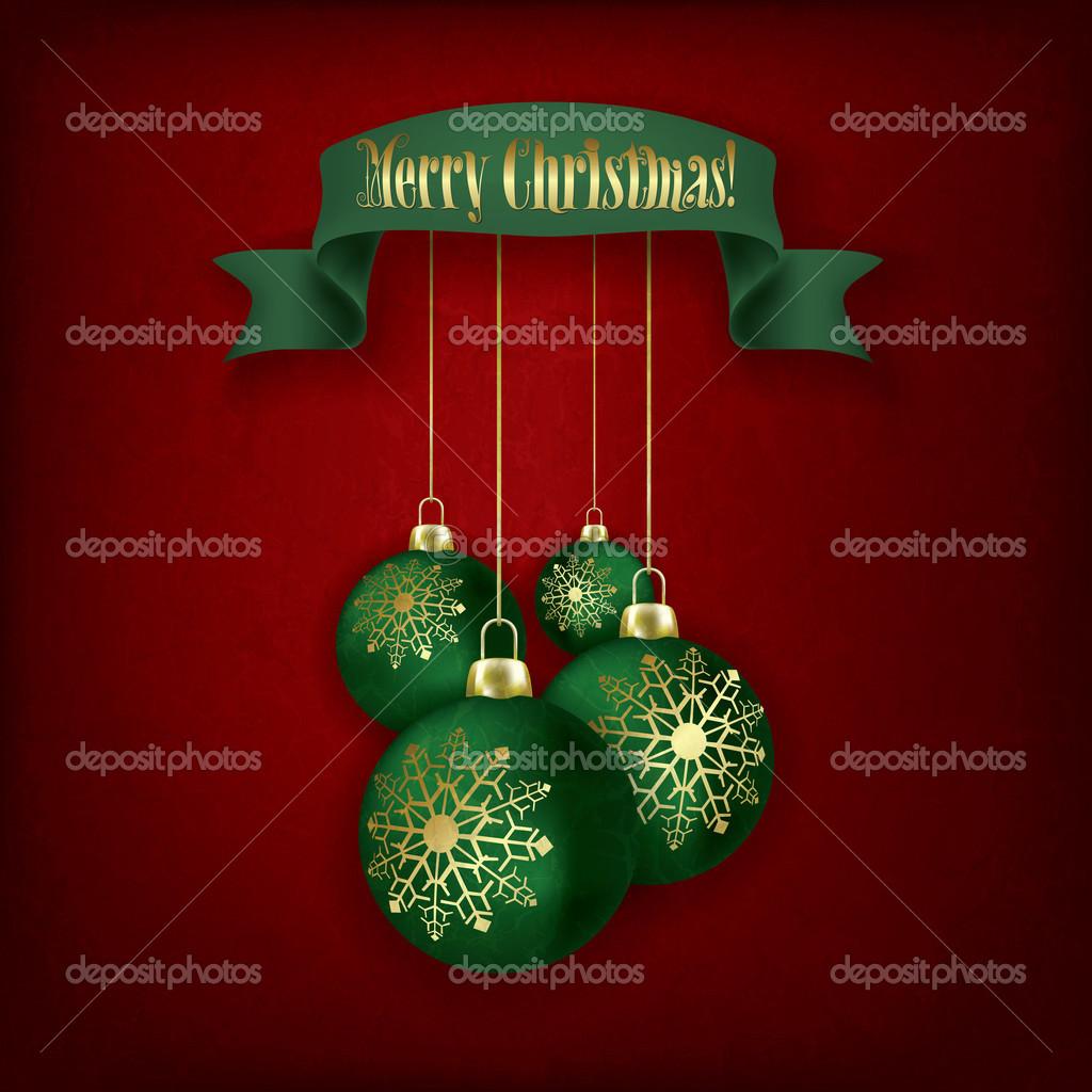 Weihnachten-Grunge-Begrüßung mit grünen Dekorationen und Band ...
