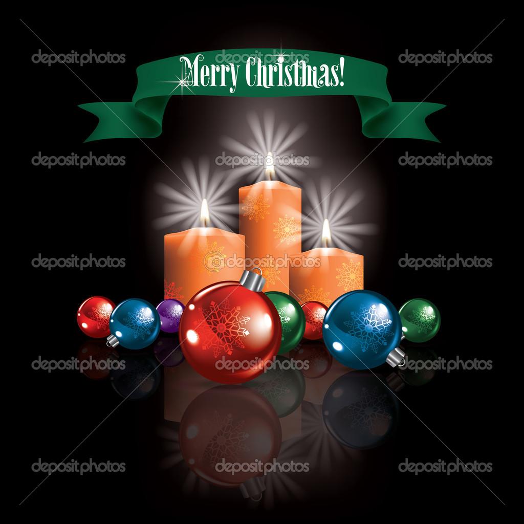 abstrakte Weihnachten Begrüßung mit Dekorationen und Kerzen ...