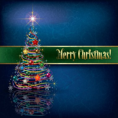 greeting with Christmas tree on grunge background