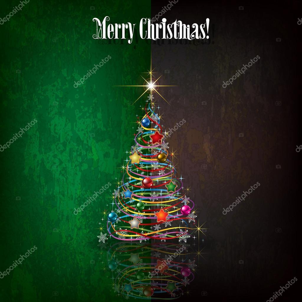 abstrakte Weihnachten Begrüßung mit Baum und Dekorationen ...