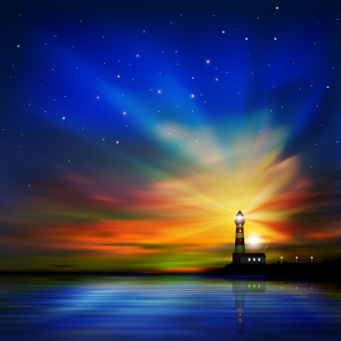 abstract background with silhouette of lighthouse