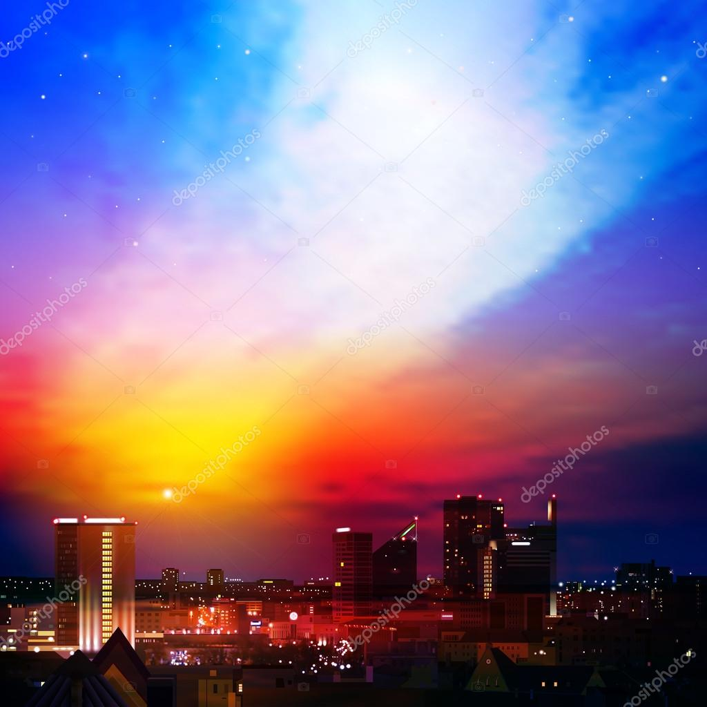 abstract background with city and sunrise