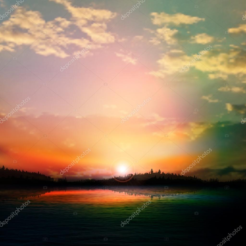abstract sunset background with forest lake and clouds