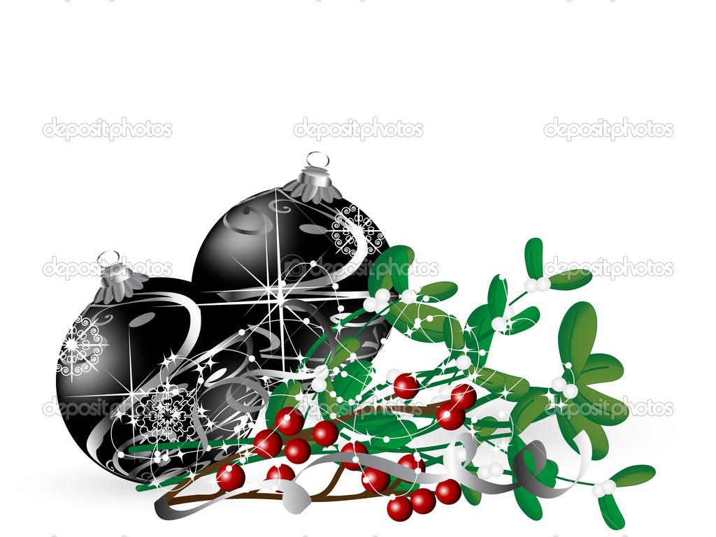 Background image 8841 - Christmas Background With Black Balls And Mistletoe Vector By Sarininka