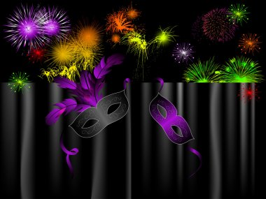 Party background with carnival masks and fireworks stock vector