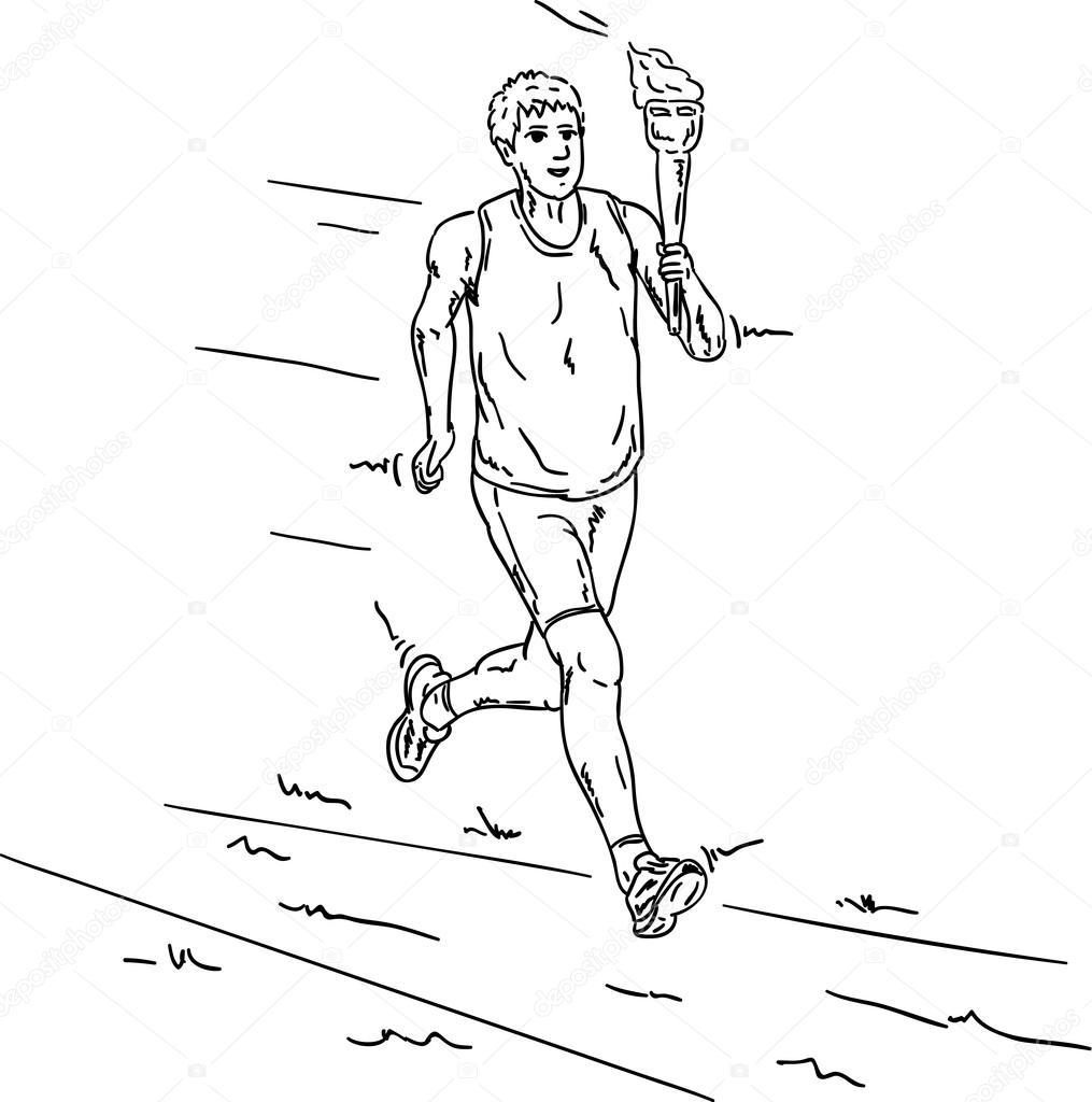бегать рисунок карандашом работу