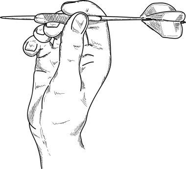 Hand with darts